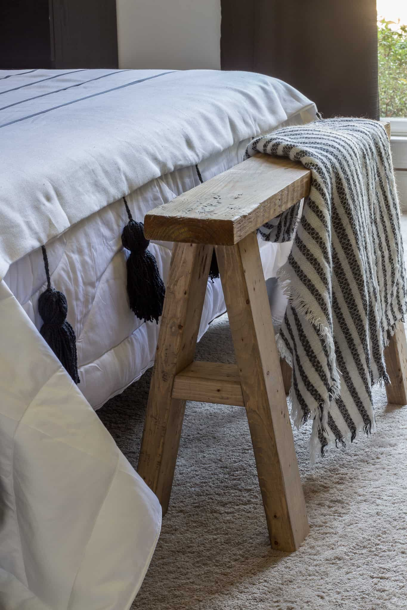 DIY wood end of the bed bench for the Bedroom Makeover