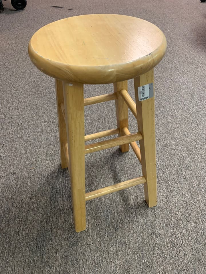Thrifted stool for a DIY small stool project.