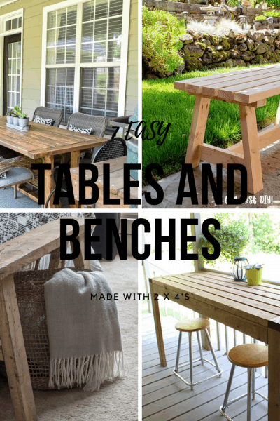 7 Easy Tables and Benches Made with 2 x 4's