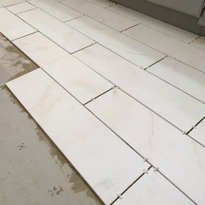 Marble tile floor for the bathroom.