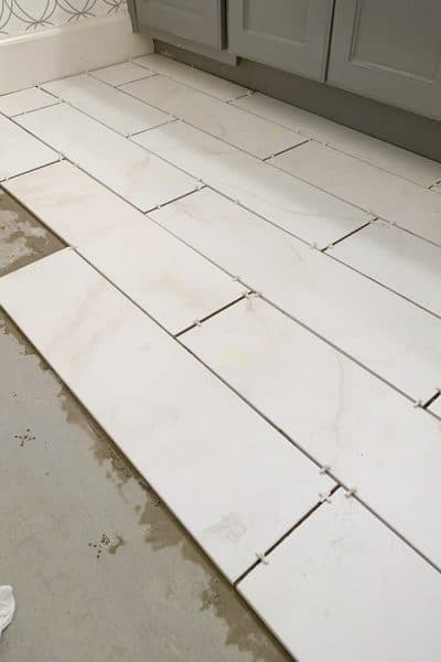 Marble tile floor for the bathroom.