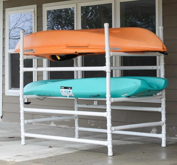 How to build a storage rack for kayaks out of PVC.