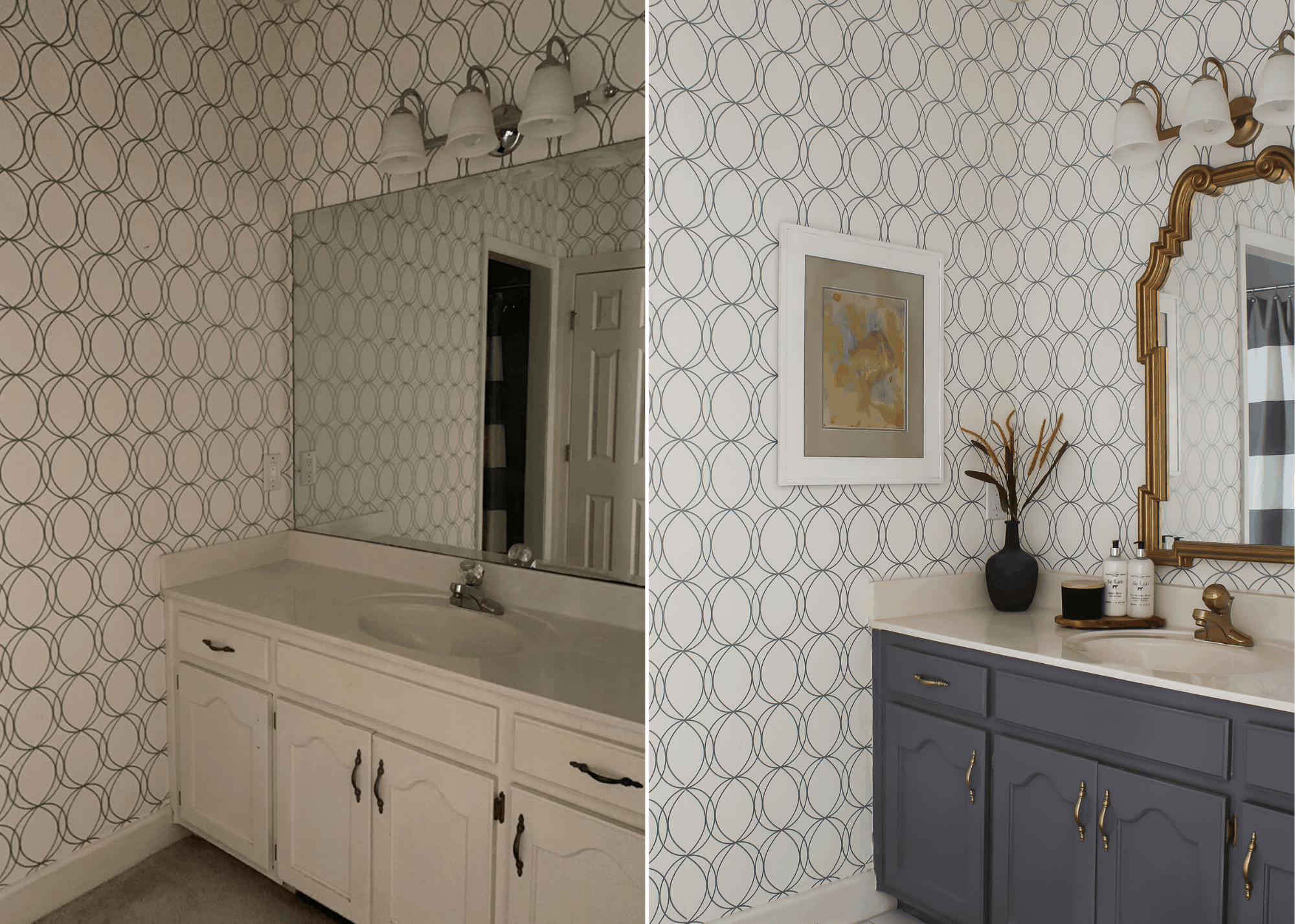 Before and After of Jack and Jill Bathroom