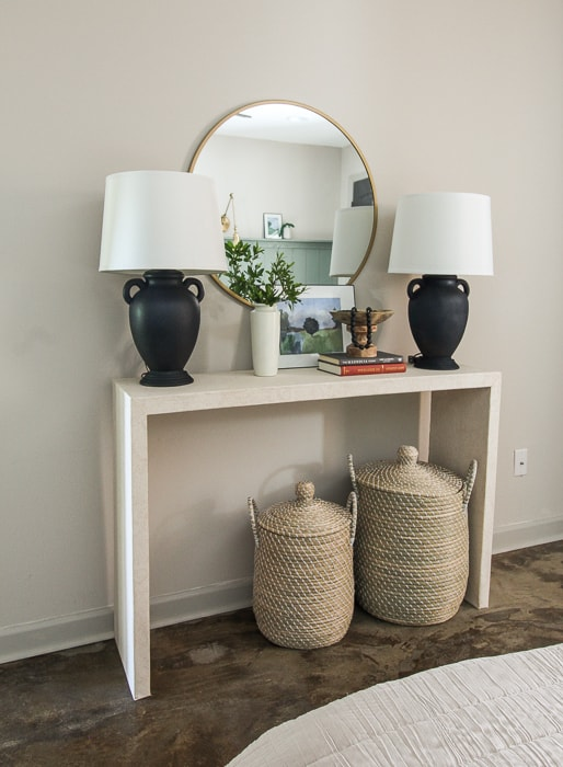 faux concrete console table made with wallpaper and boards