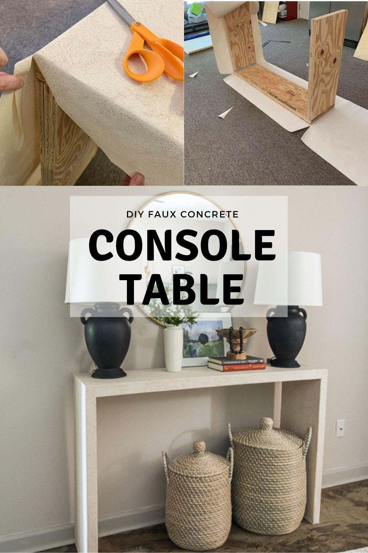 diy faux concrete console table