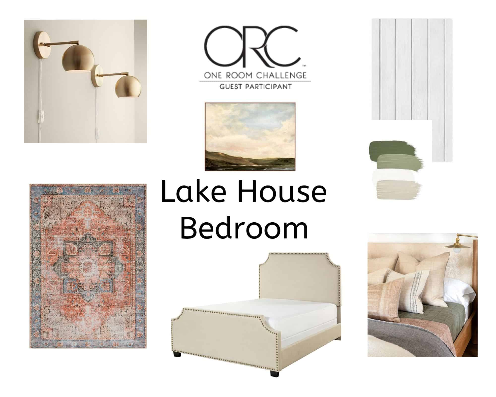 Mood Board for lake house master bedroom
