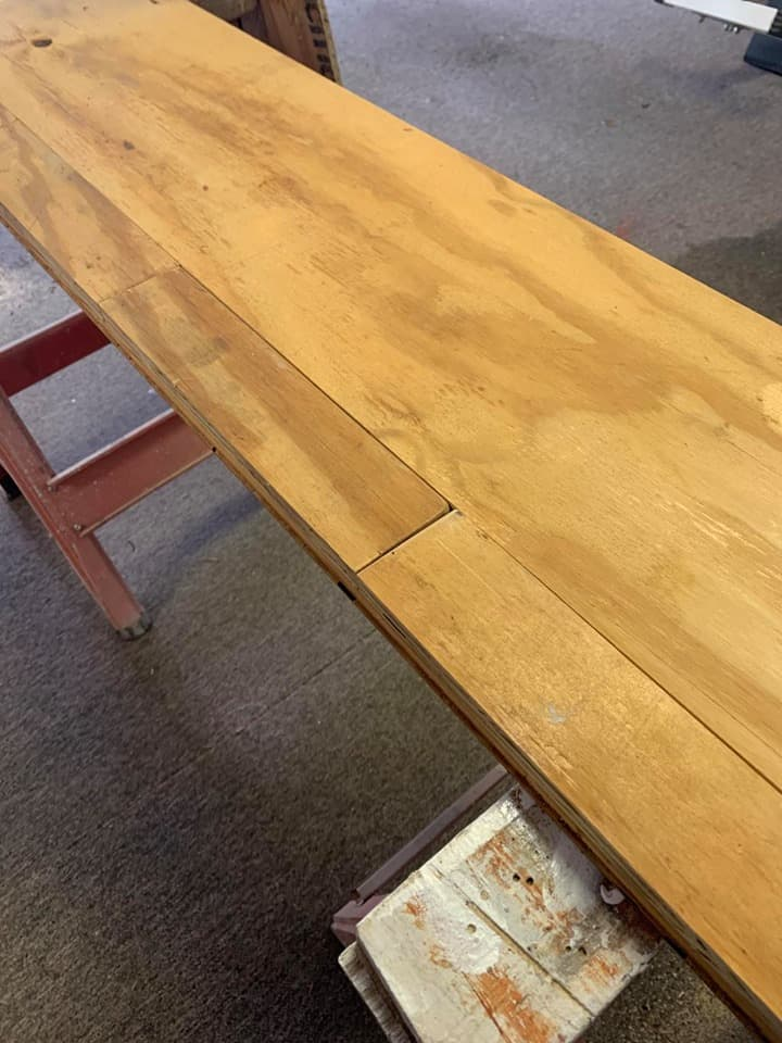 Building table with scrap wood.