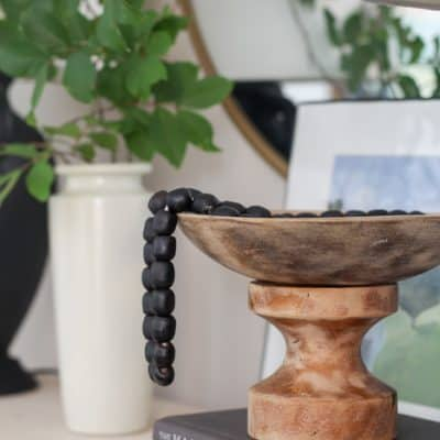 wooden beads in bowl