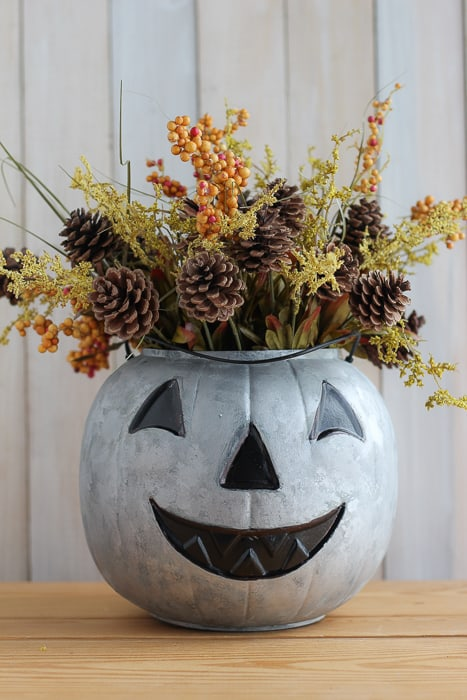 DIY Galvanized Pumpkin with Paint