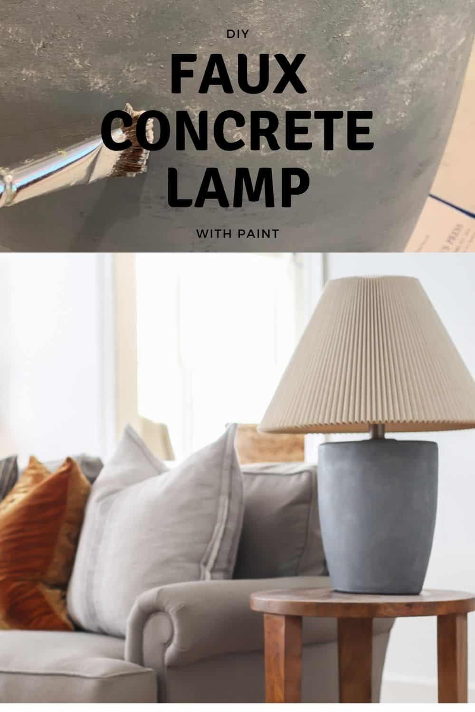 DIY faux concrete lamp with paint