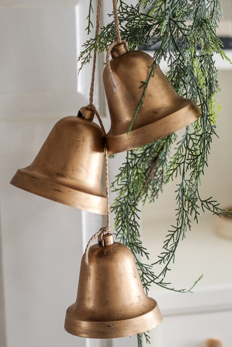 gold painted hanging bells