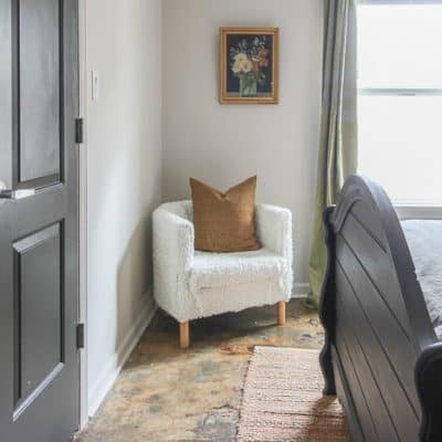 chair and curtains for the bedroom makeover