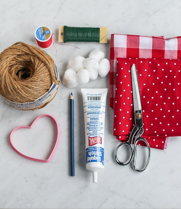 Supplies for diy valentine heart garland