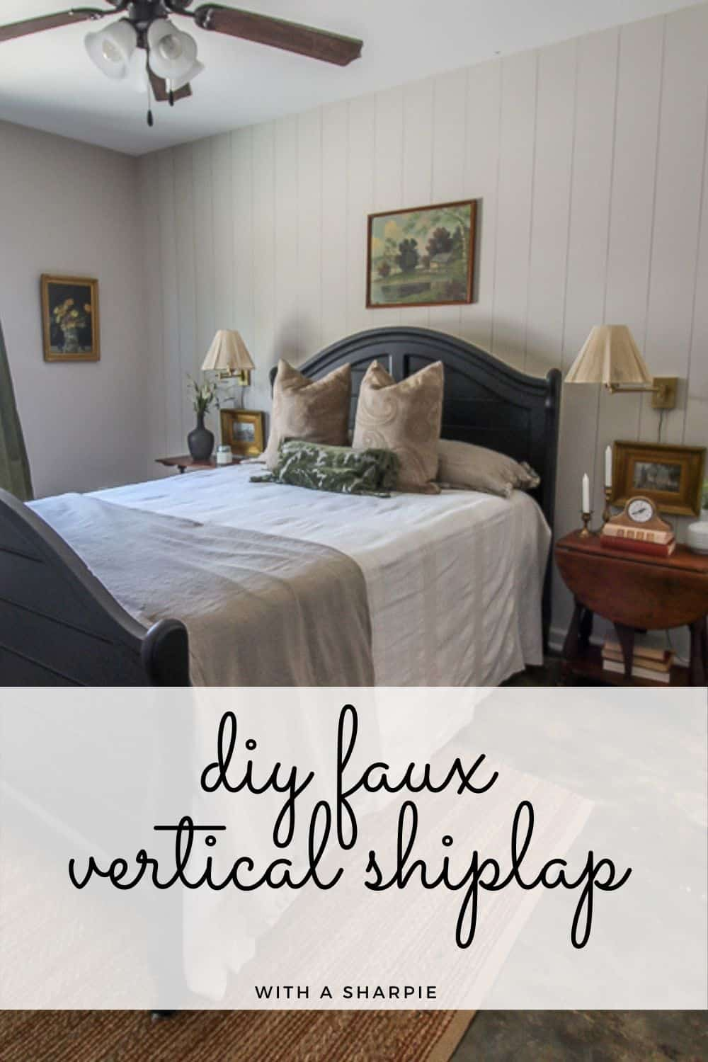 diy faux vertical shiplap with a Sharpie