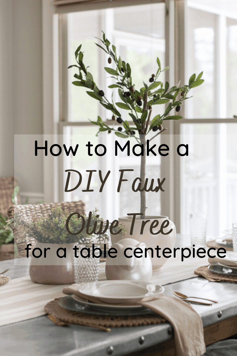 How to make a diy faux olive tree for a table centerpiece