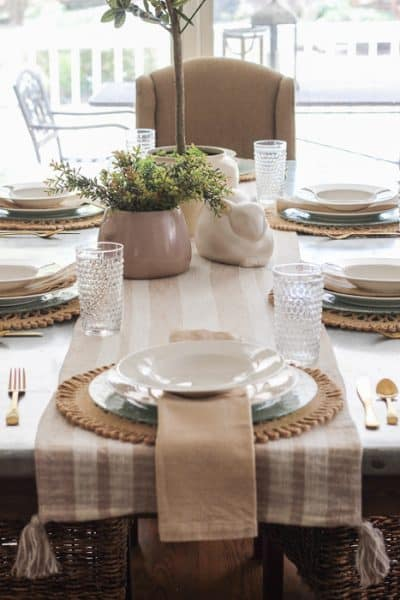 spring neutral tablescape