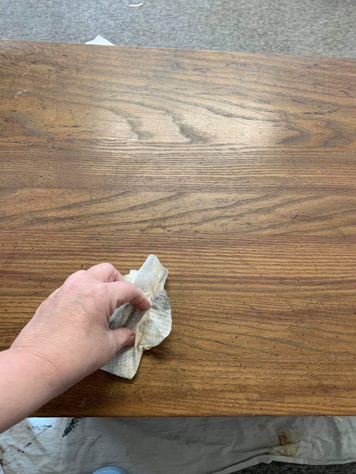 Clean furniture with a tack cloth or damp cloth.