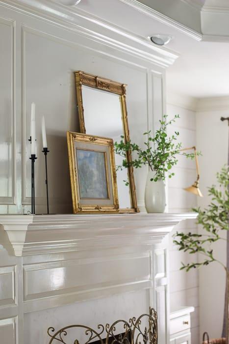 simple summer fireplace mantel