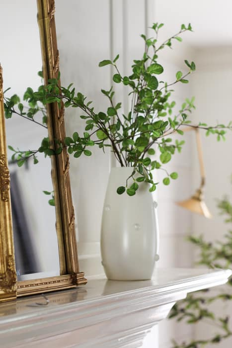 Greenery for simple summer mantel