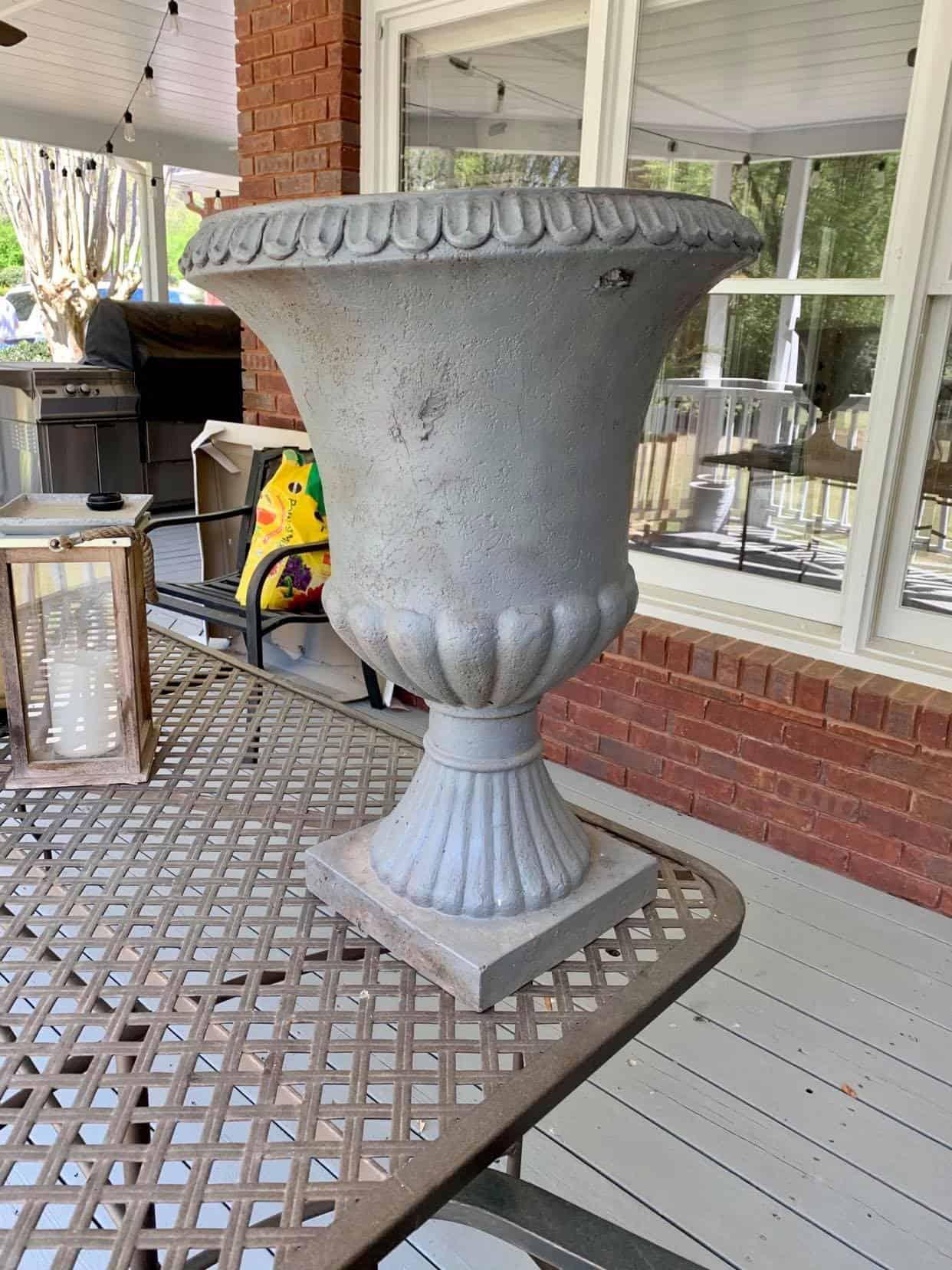 spray paint the plastic urn