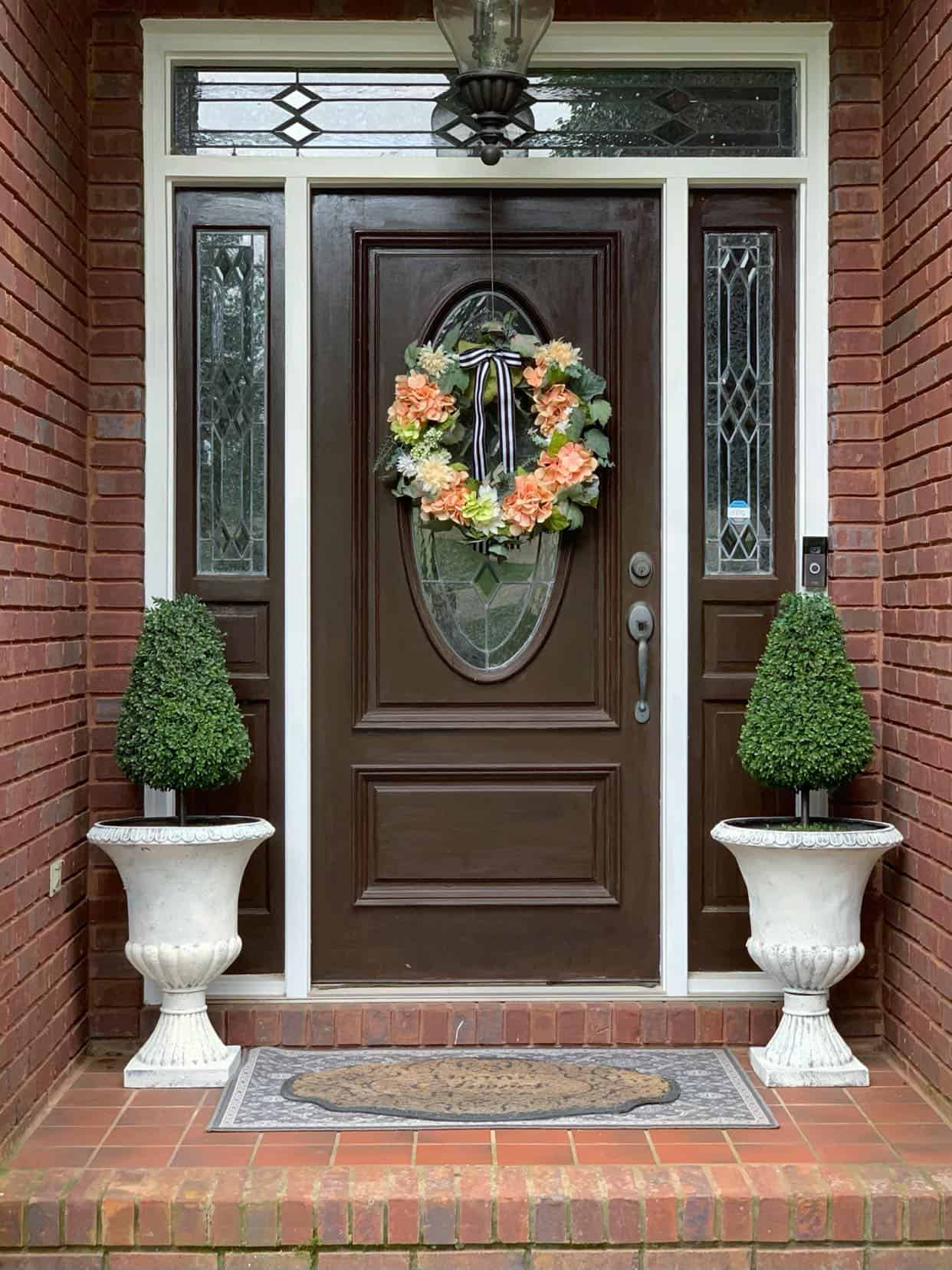 Painted urns for front porch