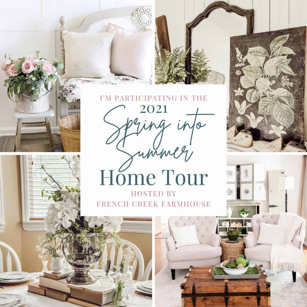 Tour cover for simple summer fireplace mantel.