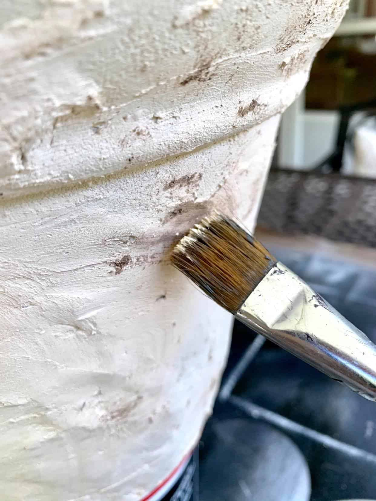 add cream paint to planter pot